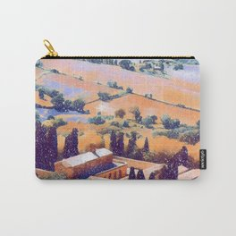 Snow falling on Tuscany Carry-All Pouch