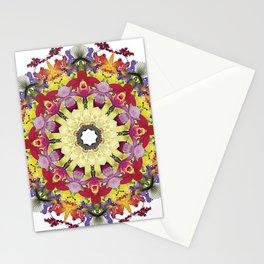 Abundantly colorful orchid mandala 1 Stationery Cards