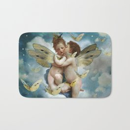 """Angels in love in heaven with butterflies"" Bath Mat"