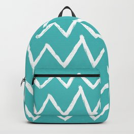 Hand-Drawn Zig Zag (White & Teal Pattern) Backpack