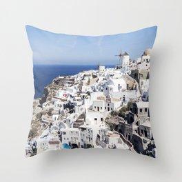 White Village in Oia, Santorini, Greece Throw Pillow