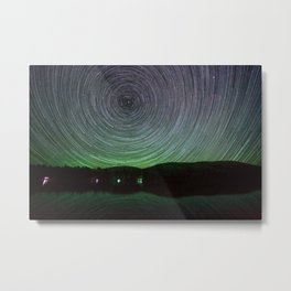 Mountain Lake With Star Trails Metal Print