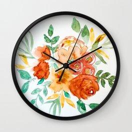 Golden Florals Wall Clock