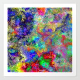 Abstract bright colorful watercolor brushstrokes pattern Art Print