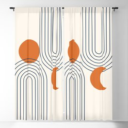 Mid Century Modern Geometric 113 in Navy Blue and Orange (Rainbow and Sun Abstraction) Blackout Curtain