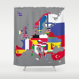 Europe flags grey Shower Curtain