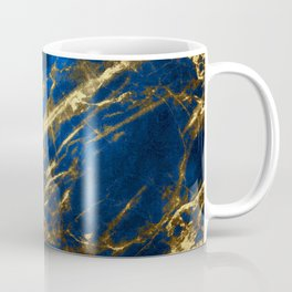 Blue Faux Marble With Gold Strike Veins Coffee Mug