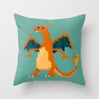 charizard Throw Pillows featuring Charizard by GregSuj