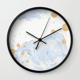Blue & Gold Art Wall Clock