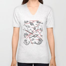 Sharks with friken lazers on their heads Unisex V-Neck