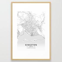 Kingston, Jamaica - Light Map Framed Art Print