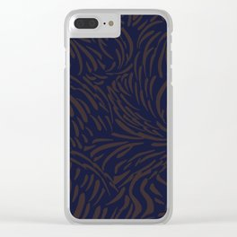 Abstract Pattern, Things are Changing, in Blue and Brown Clear iPhone Case