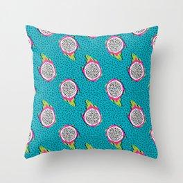 Dragonfruit retro style pattern tropical fruits vegan art print exotic throwback 80s Throw Pillow