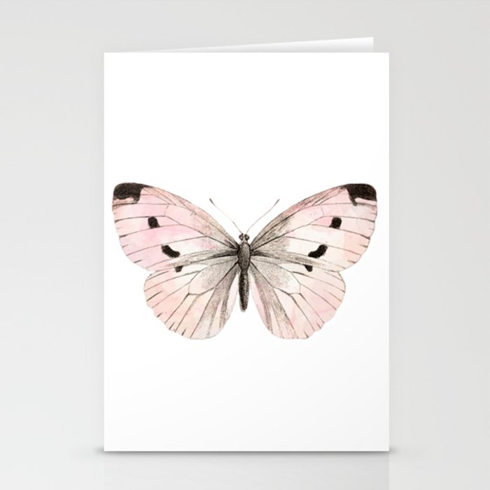 butterfly flutter soft peach stationery cards by peggieprints
