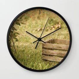 apple crate photograph Wall Clock