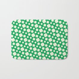 Off-White Four Leaf Clover Pattern with Green Background Bath Mat