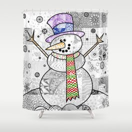 Coloured Snowman Shower Curtain