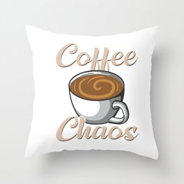 Cute & Funny I Run On Coffee Chaos And Cuss Words Throw Pillow