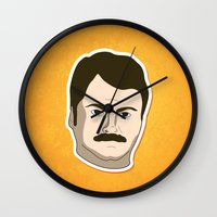 ron swanson Wall Clocks featuring Ron Swanson by irosebot
