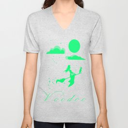 The magician flies away towards the moon. Unisex V-Neck