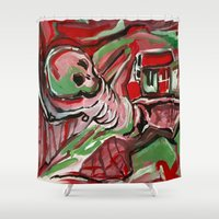 skeleton Shower Curtains featuring Skeleton by Helen Syron