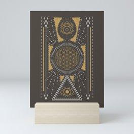 Sacred Geometric Eyes // Hand Drawn Illustration With Sacred Geometry Shapes & Magic Eye Pyramids Mini Art Print