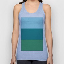 Tanager Turquoise, Teal Blue and Kelly Green Horizontal Color Blocks Unisex Tank Top
