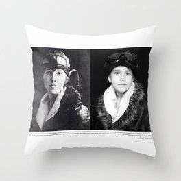 NOT Just A Girl | Emma | Amelia Earhart Portrait w/ quote Throw Pillow