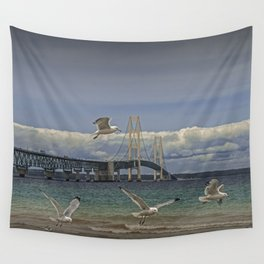 Flock of Gulls Flying by the Bridge at the Straits of Mackinac Wall Tapestry