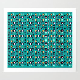 Christmas pattern in blue Art Print