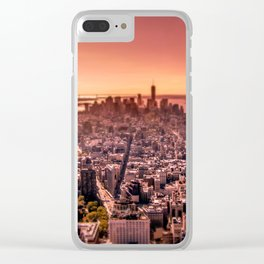 Manhattan in red Clear iPhone Case