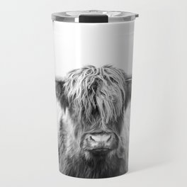 Highland Cow Longhorn in a Field Black and White Travel Mug