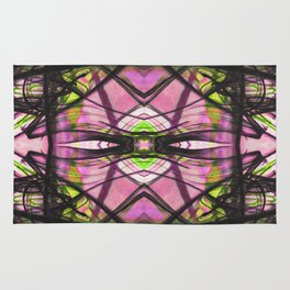 Abstract Kiwi Pattern with Fluid Black Line Rug