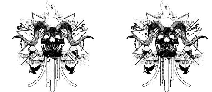 Rock Horned Skull Graphic  Coffee Mug