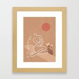 Woman in Nature Illustration Framed Art Print