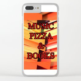 Music Pizza & Books Clear iPhone Case