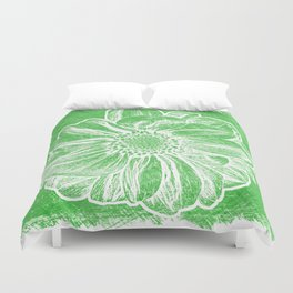 White Flower On Tech Green Crayon Duvet Cover