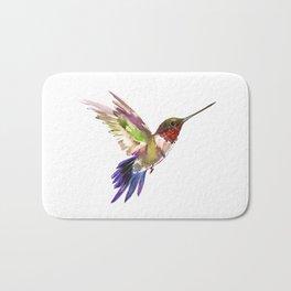 Hummingbird artwork, flying hummingbird Bath Mat