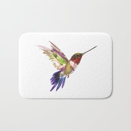 Hummingbird artwork, flying hummingbird Bath Mat