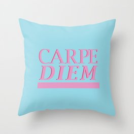 Carpe Diem blue Throw Pillow