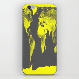 world map : Yellow & Gray iPhone Skin