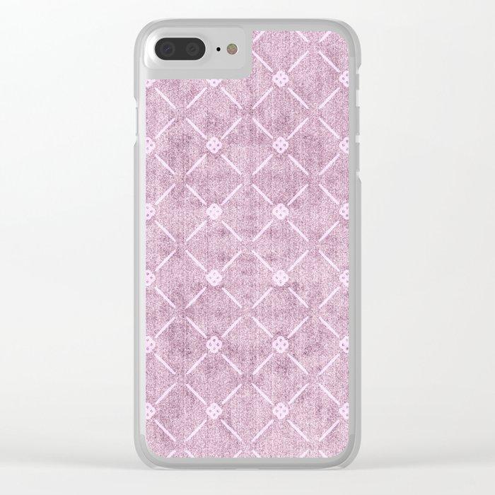 Faux Velvet Dusty Mauve Light Diamond Pattern Clear iPhone Case