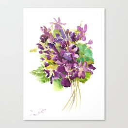 Violets, violet flowers, purple olive green floral design Canvas Print