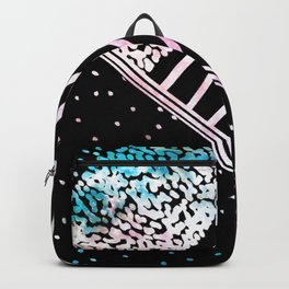 Modern pink teal black watercolor geometrical Backpack