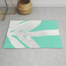 Green Fern on Ice Mint Green Inverted Silver Rug