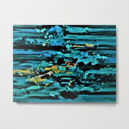 Clouds over Turbulent Waters - Abstract with Rice Paper Metal Print