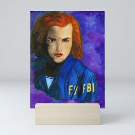 Dana Scully FBI Dark Blue Mini Art Print
