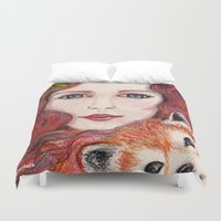 red panda Duvet Covers featuring Red panda by Pendientera