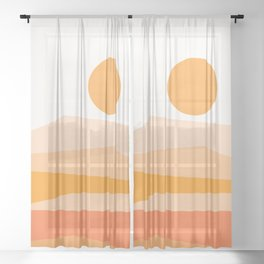 Abstract Landscape 09 Orange Sheer Curtain