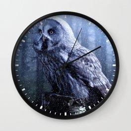 Winter Owl-eye Wall Clock